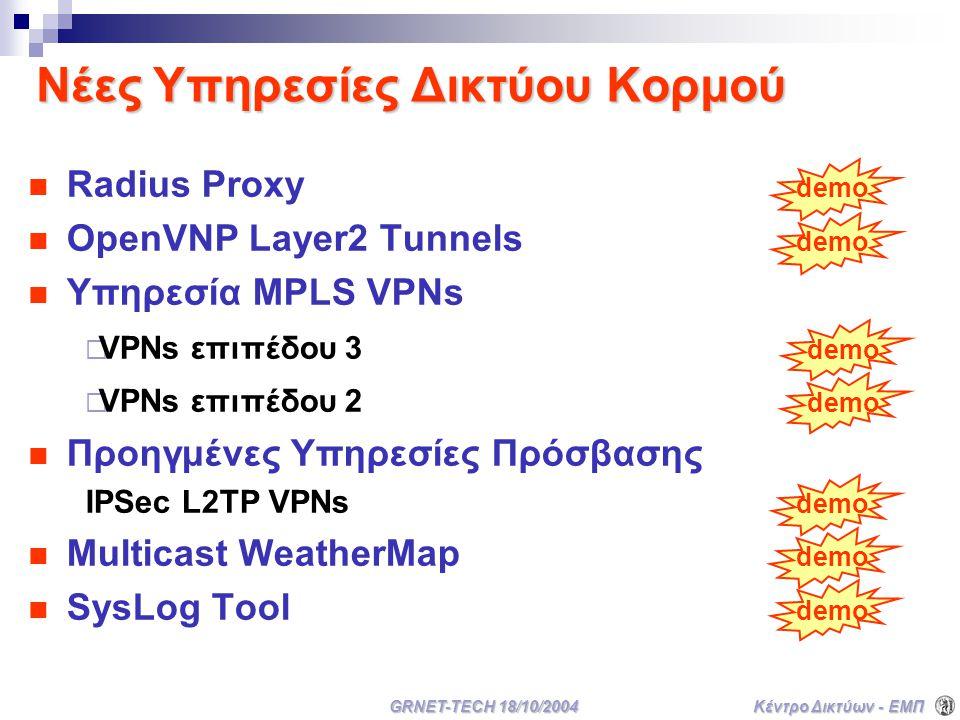 Κέντρο Δικτύων - ΕΜΠ GRNET-TECH 18/10/2004 Νέες Υπηρεσίες Δικτύου Κορμού Radius Proxy demo OpenVNP Layer2 Tunnels demo Υπηρεσία MPLS VPNs  VPNs επιπέδου 3 demo  VPNs επιπέδου 2 demo Προηγμένες Υπηρεσίες Πρόσβασης IPSec L2TP VPNs demo Multicast WeatherMap demo SysLog Tool demo