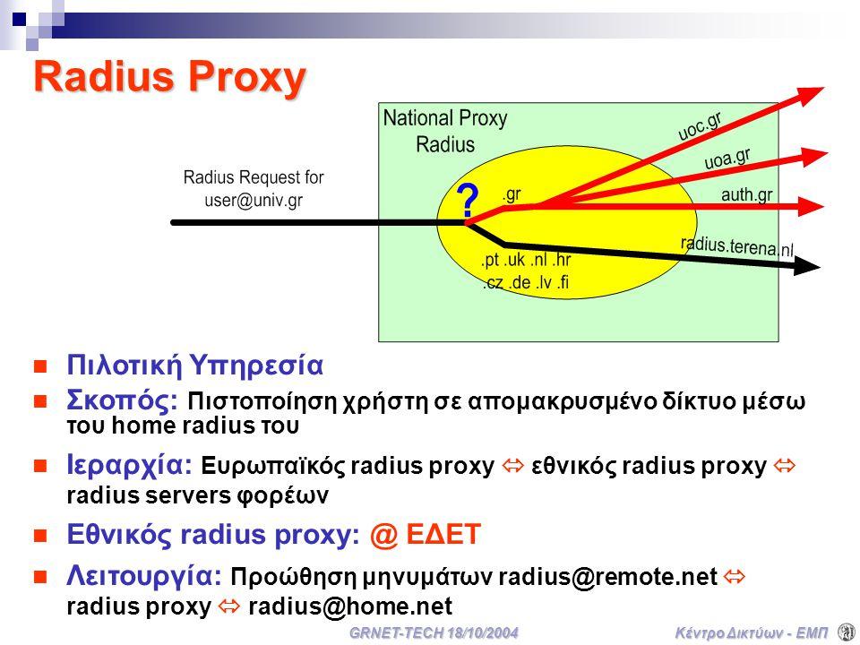 Κέντρο Δικτύων - ΕΜΠ GRNET-TECH 18/10/2004 Radius Proxy Πιλοτική Υπηρεσία Σκοπός: Πιστοποίηση χρήστη σε απομακρυσμένο δίκτυο μέσω του home radius του Ιεραρχία: Ευρωπαϊκός radius proxy  εθνικός radius proxy  radius servers φορέων Εθνικός radius proxy: @ ΕΔΕΤ Λειτουργία: Προώθηση μηνυμάτων radius@remote.net  radius proxy  radius@home.net