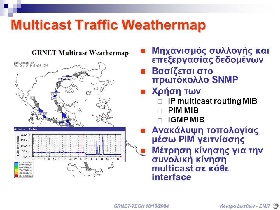 Κέντρο Δικτύων - ΕΜΠ GRNET-TECH 18/10/2004 Multicast Traffic Weathermap Μηχανισμός συλλογής και επεξεργασίας δεδομένων Βασίζεται στο πρωτόκολλο SNMP Χρήση των  IP multicast routing MIB  PIM MIB  IGMP MIB Ανακάλυψη τοπολογίας μέσω PIM γειτνίασης Μέτρηση κίνησης για την συνολική κίνηση multicast σε κάθε interface
