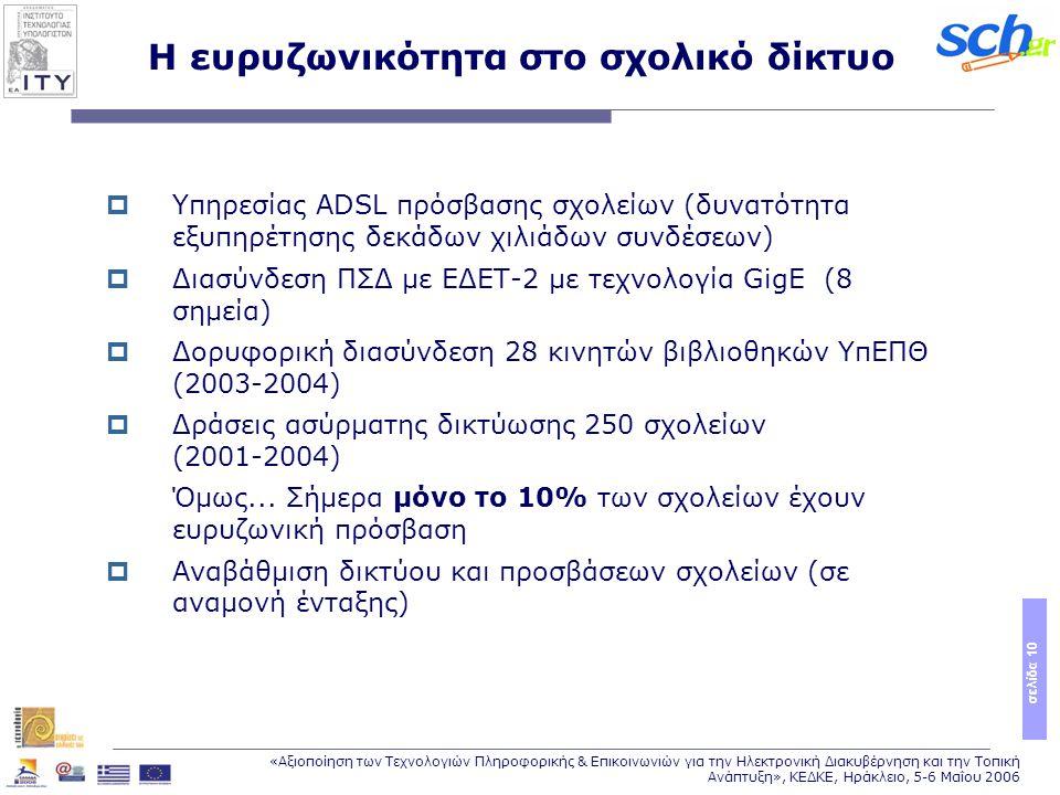 σελίδα 10 «Αξιοποίηση των Τεχνολογιών Πληροφορικής & Επικοινωνιών για την Ηλεκτρονική Διακυβέρνηση και την Τοπική Ανάπτυξη», ΚΕΔΚΕ, Ηράκλειο, 5-6 Μαΐου 2006 Η ευρυζωνικότητα στο σχολικό δίκτυο  Υπηρεσίας ADSL πρόσβασης σχολείων (δυνατότητα εξυπηρέτησης δεκάδων χιλιάδων συνδέσεων)  Διασύνδεση ΠΣΔ με ΕΔΕΤ-2 με τεχνολογία GigE (8 σημεία)  Δορυφορική διασύνδεση 28 κινητών βιβλιοθηκών ΥπΕΠΘ (2003-2004)  Δράσεις ασύρματης δικτύωσης 250 σχολείων (2001-2004) Όμως...