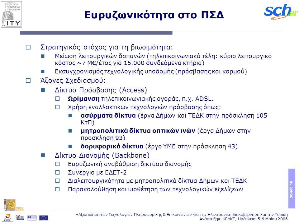 σελίδα 16 «Αξιοποίηση των Τεχνολογιών Πληροφορικής & Επικοινωνιών για την Ηλεκτρονική Διακυβέρνηση και την Τοπική Ανάπτυξη», ΚΕΔΚΕ, Ηράκλειο, 5-6 Μαΐου 2006 Ευρυζωνικότητα στο ΠΣΔ  Στρατηγικός στόχος για τη βιωσιμότητα: Μείωση λειτουργικών δαπανών (τηλεπικοινωνιακά τέλη: κύριο λειτουργικό κόστος ~7 Μ€/έτος για 15.000 συνδεόμενα κτήρια) Εκσυγχρονισμός τεχνολογικής υποδομής (πρόσβασης και κορμού)  Άξονες Σχεδιασμού: Δίκτυο Πρόσβασης (Access)  Ωρίμανση τηλεπικοινωνιακής αγοράς, π.χ.