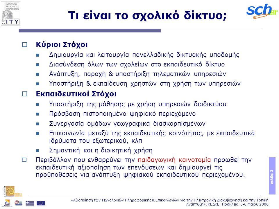 σελίδα 2 «Αξιοποίηση των Τεχνολογιών Πληροφορικής & Επικοινωνιών για την Ηλεκτρονική Διακυβέρνηση και την Τοπική Ανάπτυξη», ΚΕΔΚΕ, Ηράκλειο, 5-6 Μαΐου 2006 Τι είναι το σχολικό δίκτυο;  Κύριοι Στόχοι Δημιουργία και λειτουργία πανελλαδικής δικτυακής υποδομής Διασύνδεση όλων των σχολείων στο εκπαιδευτικό δίκτυο Ανάπτυξη, παροχή & υποστήριξη τηλεματικών υπηρεσιών Υποστήριξη & εκπαίδευση χρηστών στη χρήση των υπηρεσιών  Εκπαιδευτικοί Στόχοι Υποστήριξη της μάθησης με χρήση υπηρεσιών διαδικτύου Πρόσβαση πιστοποιημένο ψηφιακό περιεχόμενο Συνεργασία ομάδων γεωγραφικά διασκορπισμένων Επικοινωνία μεταξύ της εκπαιδευτικής κοινότητας, με εκπαιδευτικά ιδρύματα του εξωτερικού, κλπ Σημαντική και η διοικητική χρήση  Περιβάλλον που ενθαρρύνει την παιδαγωγική καινοτομία προωθεί την εκπαιδευτική αξιοποίηση των επενδύσεων και δημιουργεί τις προϋποθέσεις για ανάπτυξη ψηφιακού εκπαιδευτικού περιεχομένου.
