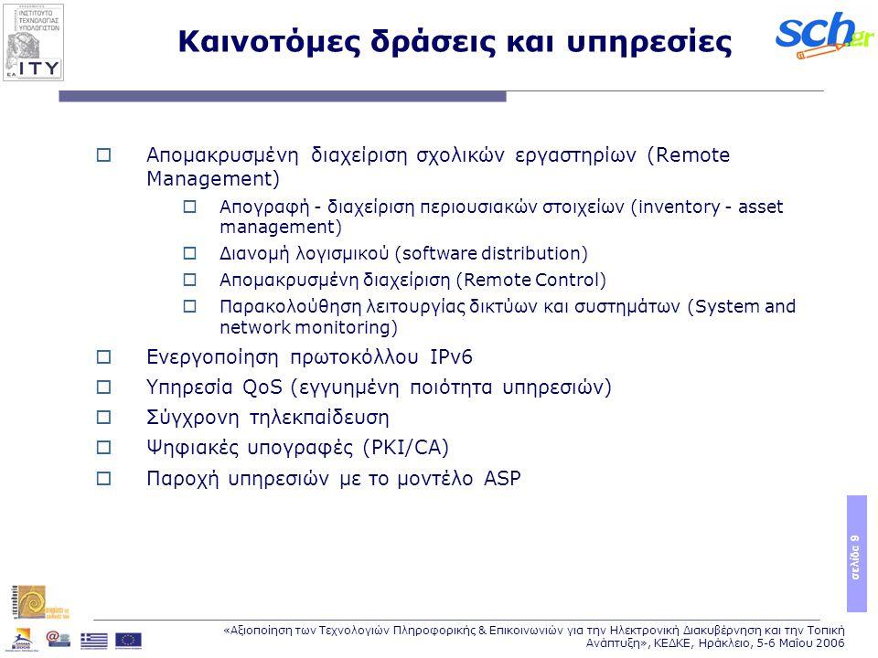 σελίδα 9 «Αξιοποίηση των Τεχνολογιών Πληροφορικής & Επικοινωνιών για την Ηλεκτρονική Διακυβέρνηση και την Τοπική Ανάπτυξη», ΚΕΔΚΕ, Ηράκλειο, 5-6 Μαΐου 2006  Απομακρυσμένη διαχείριση σχολικών εργαστηρίων (Remote Management)  Απογραφή - διαχείριση περιουσιακών στοιχείων (inventory - asset management)  Διανομή λογισμικού (software distribution)  Απομακρυσμένη διαχείριση (Remote Control)  Παρακολούθηση λειτουργίας δικτύων και συστημάτων (System and network monitoring)  Ενεργοποίηση πρωτοκόλλου IPv6  Υπηρεσία QoS (εγγυημένη ποιότητα υπηρεσιών)  Σύγχρονη τηλεκπαίδευση  Ψηφιακές υπογραφές (PKI/CA)  Παροχή υπηρεσιών με το μοντέλο ASP Καινοτόμες δράσεις και υπηρεσίες