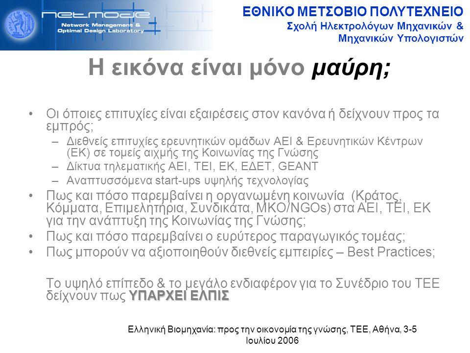 ΕΘΝΙΚΟ ΜΕΤΣΟΒΙΟ ΠΟΛΥΤΕΧΝΕΙΟ Σχολή Ηλεκτρολόγων Μηχανικών & Μηχανικών Υπολογιστών Ελληνική Βιομηχανία: προς την οικονομία της γνώσης, ΤΕΕ, Αθήνα, 3-5 Ιουλίου 2006 Η εικόνα είναι μόνο μαύρη; Οι όποιες επιτυχίες είναι εξαιρέσεις στον κανόνα ή δείχνουν προς τα εμπρός; –Διεθνείς επιτυχίες ερευνητικών ομάδων ΑΕΙ & Ερευνητικών Κέντρων (ΕΚ) σε τομείς αιχμής της Κοινωνίας της Γνώσης –Δίκτυα τηλεματικής ΑΕΙ, ΤΕΙ, ΕΚ, ΕΔΕΤ, GEANT –Αναπτυσσόμενα start-ups υψηλής τεχνολογίας Πως και πόσο παρεμβαίνει η οργανωμένη κοινωνία (Κράτος, Κόμματα, Επιμελητήρια, Συνδικάτα, ΜΚΟ/NGOs) στα ΑΕΙ, ΤΕΙ, ΕΚ για την ανάπτυξη της Κοινωνίας της Γνώσης; Πως και πόσο παρεμβαίνει ο ευρύτερος παραγωγικός τομέας; Πως μπορούν να αξιοποιηθούν διεθνείς εμπειρίες – Best Practices; ΥΠΑΡΧΕΙ ΕΛΠΙΣ Το υψηλό επίπεδο & το μεγάλο ενδιαφέρον για το Συνέδριο του ΤΕΕ δείχνουν πως ΥΠΑΡΧΕΙ ΕΛΠΙΣ