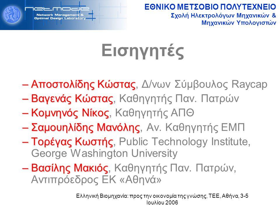 ΕΘΝΙΚΟ ΜΕΤΣΟΒΙΟ ΠΟΛΥΤΕΧΝΕΙΟ Σχολή Ηλεκτρολόγων Μηχανικών & Μηχανικών Υπολογιστών Ελληνική Βιομηχανία: προς την οικονομία της γνώσης, ΤΕΕ, Αθήνα, 3-5 Ιουλίου 2006 Εισηγητές –Αποστολίδης Κώστας –Αποστολίδης Κώστας, Δ/νων Σύμβουλος Raycap –Βαγενάς Κώστας –Βαγενάς Κώστας, Καθηγητής Παν.