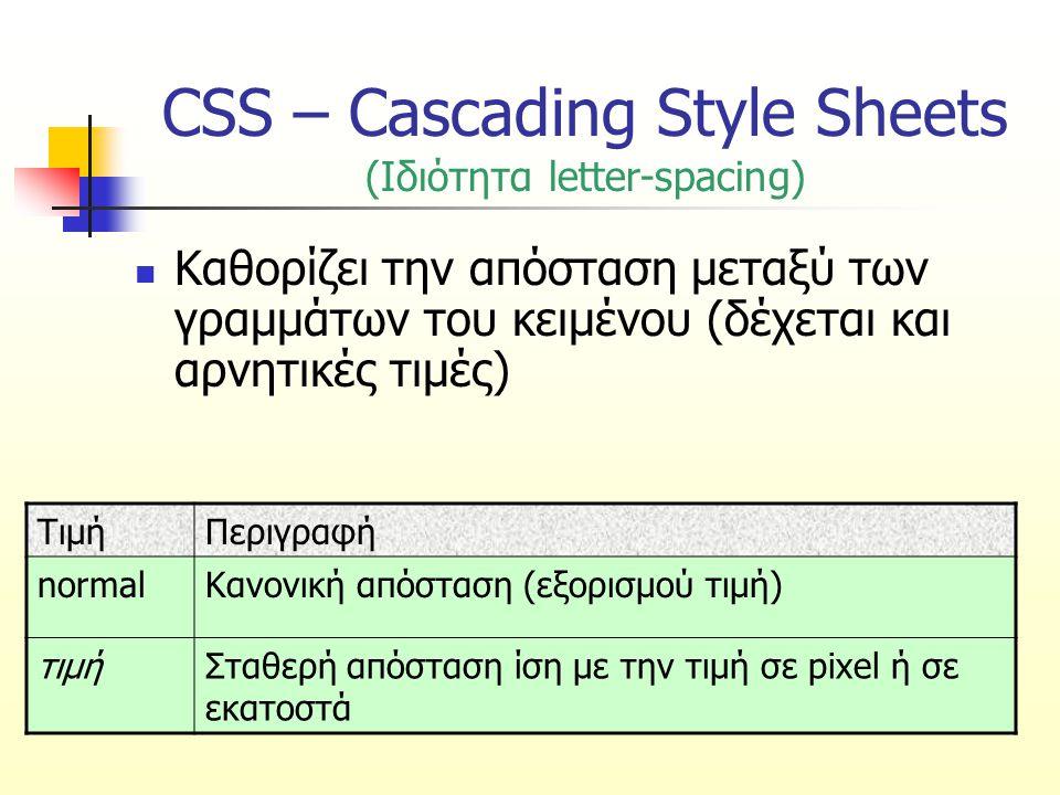 CSS – Cascading Style Sheets (Ιδιότητα letter-spacing) Καθορίζει την απόσταση μεταξύ των γραμμάτων του κειμένου (δέχεται και αρνητικές τιμές) ΤιμήΠερι