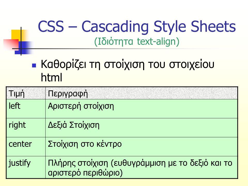 CSS – Cascading Style Sheets (Ιδιότητα text-align) Καθορίζει τη στοίχιση του στοιχείου html ΤιμήΠεριγραφή leftΑριστερή στοίχιση rightΔεξιά Στοίχιση ce