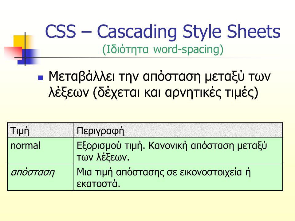 CSS – Cascading Style Sheets (Ιδιότητα word-spacing) Μεταβάλλει την απόσταση μεταξύ των λέξεων (δέχεται και αρνητικές τιμές) ΤιμήΠεριγραφή normalΕξορι