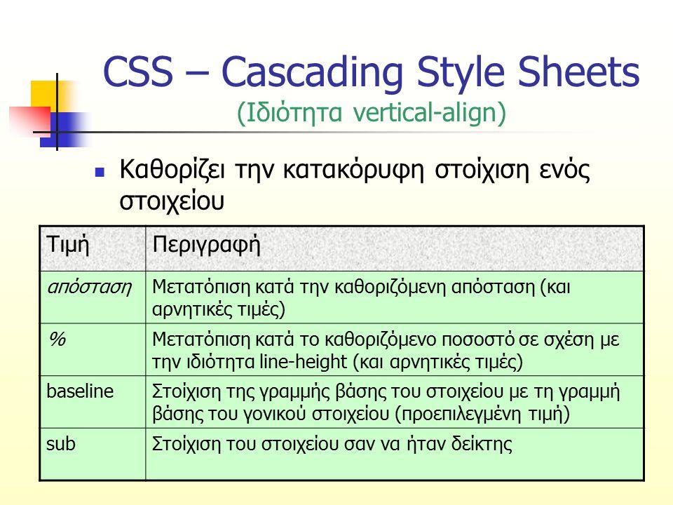 CSS – Cascading Style Sheets (Ιδιότητα vertical-align) Καθορίζει την κατακόρυφη στοίχιση ενός στοιχείου ΤιμήΠεριγραφή απόστασηΜετατόπιση κατά την καθο