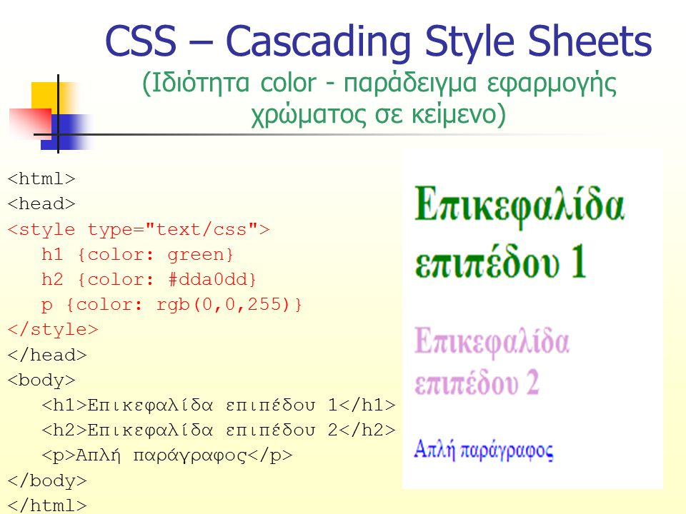 CSS – Cascading Style Sheets (Ιδιότητα color - παράδειγμα εφαρμογής χρώματος σε κείμενο) h1 {color: green} h2 {color: #dda0dd} p {color: rgb(0,0,255)}