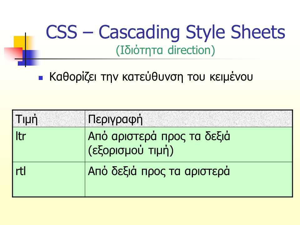 CSS – Cascading Style Sheets (Ιδιότητα direction) Καθορίζει την κατεύθυνση του κειμένου ΤιμήΠεριγραφή ltrΑπό αριστερά προς τα δεξιά (εξορισμού τιμή) r