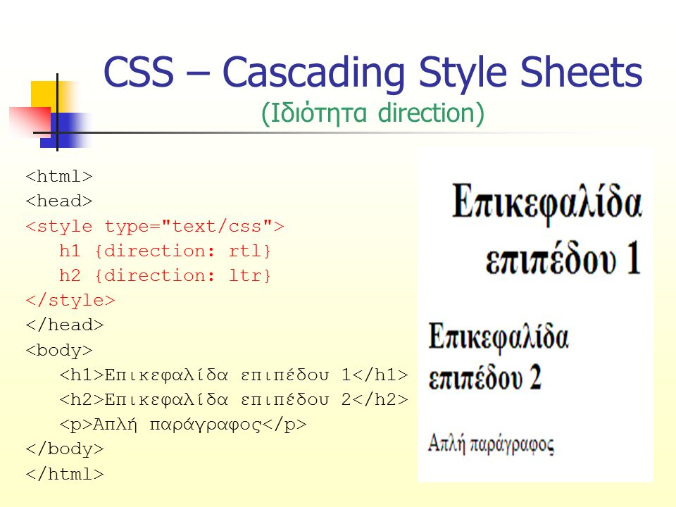 CSS – Cascading Style Sheets (Ιδιότητα direction) h1 {direction: rtl} h2 {direction: ltr} Επικεφαλίδα επιπέδου 1 Επικεφαλίδα επιπέδου 2 Απλή παράγραφο