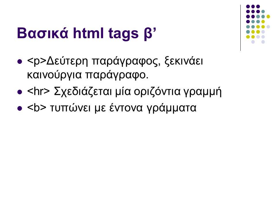 Βασικά html tags β' Δεύτερη παράγραφος, ξεκινάει καινούργια παράγραφο.