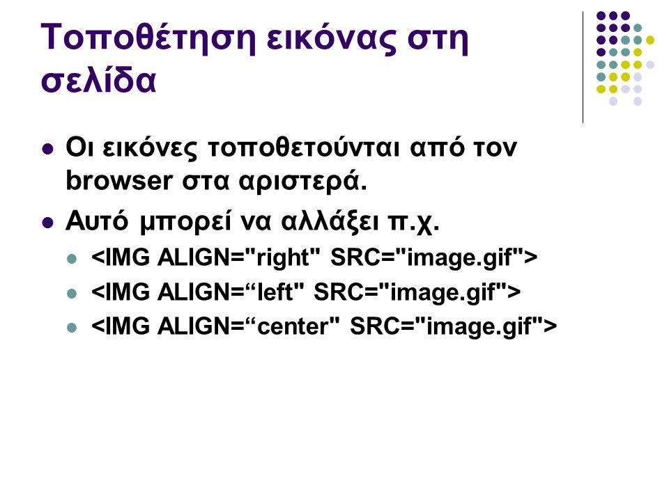 Τοποθέτηση εικόνας στη σελίδα Οι εικόνες τοποθετούνται από τον browser στα αριστερά.