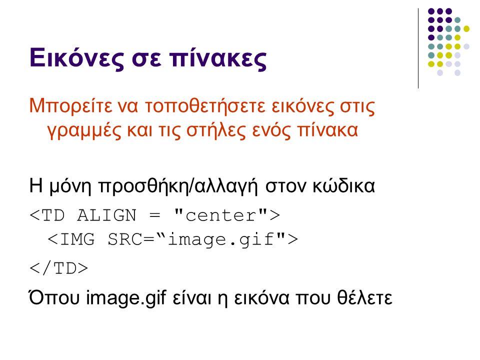 Εικόνες σε πίνακες Μπορείτε να τοποθετήσετε εικόνες στις γραμμές και τις στήλες ενός πίνακα Η μόνη προσθήκη/αλλαγή στον κώδικα Όπου image.gif είναι η εικόνα που θέλετε