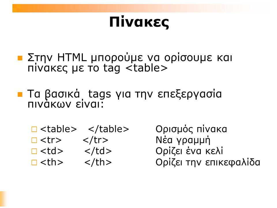 Πίνακες Στην HTML μπορούμε να ορίσουμε και πίνακες με το tag Τα βασικά tags για την επεξεργασία πινάκων είναι:  Ορισμός πίνακα  Νέα γραμμή  Ορίζει ένα κελί  Ορίζει την επικεφαλίδα