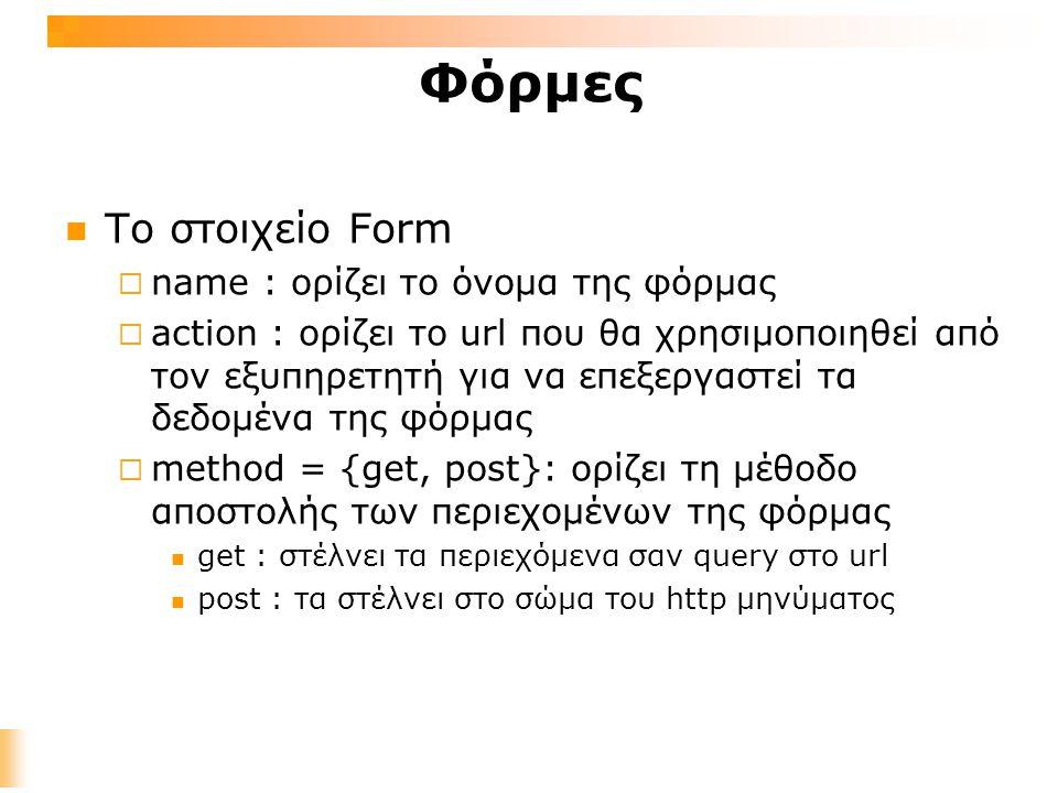 Φόρμες Το στοιχείο Form  name : ορίζει το όνομα της φόρμας  action : ορίζει το url που θα χρησιμοποιηθεί από τον εξυπηρετητή για να επεξεργαστεί τα δεδομένα της φόρμας  method = {get, post}: ορίζει τη μέθοδο αποστολής των περιεχομένων της φόρμας get : στέλνει τα περιεχόμενα σαν query στο url post : τα στέλνει στο σώμα του http μηνύματος