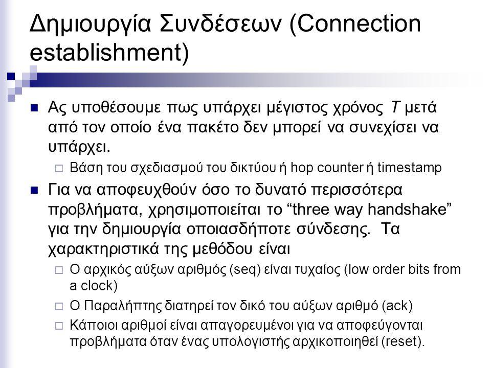 Δημιουργία Συνδέσεων (Connection establishment) Ας υποθέσουμε πως υπάρχει μέγιστος χρόνος T μετά από τον οποίο ένα πακέτο δεν μπορεί να συνεχίσει να υπάρχει.