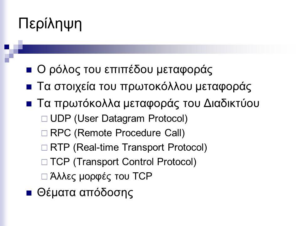Περίληψη Ο ρόλος του επιπέδου μεταφοράς Τα στοιχεία του πρωτοκόλλου μεταφοράς Τα πρωτόκολλα μεταφοράς του Διαδικτύου  UDP (User Datagram Protocol)  RPC (Remote Procedure Call)  RTP (Real-time Transport Protocol)  TCP (Transport Control Protocol)  Άλλες μορφές του TCP Θέματα απόδοσης