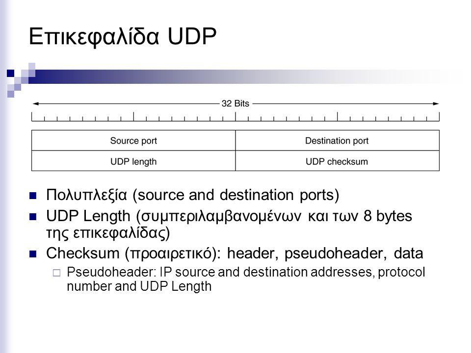 Επικεφαλίδα UDP Πολυπλεξία (source and destination ports) UDP Length (συμπεριλαμβανομένων και των 8 bytes της επικεφαλίδας) Checksum (προαιρετικό): header, pseudoheader, data  Pseudoheader: IP source and destination addresses, protocol number and UDP Length