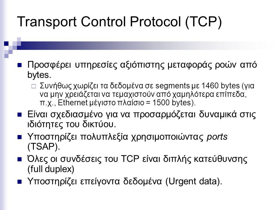 Transport Control Protocol (TCP) Προσφέρει υπηρεσίες αξιόπιστης μεταφοράς ροών από bytes.