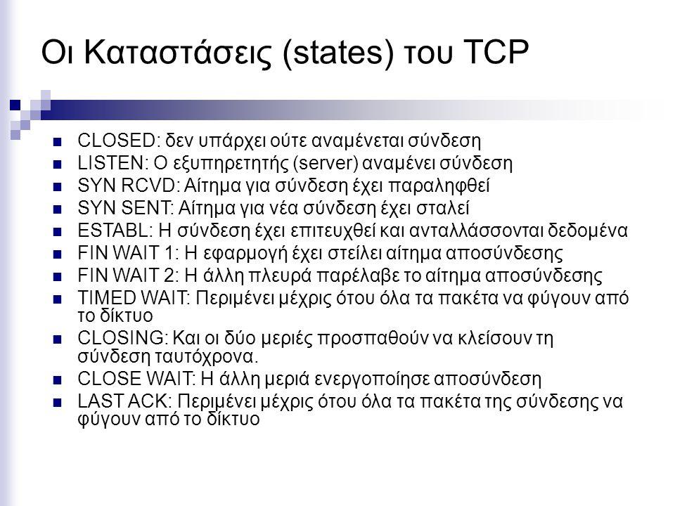 Οι Καταστάσεις (states) του TCP CLOSED: δεν υπάρχει ούτε αναμένεται σύνδεση LISTEN: Ο εξυπηρετητής (server) αναμένει σύνδεση SYN RCVD: Αίτημα για σύνδεση έχει παραληφθεί SYN SENT: Αίτημα για νέα σύνδεση έχει σταλεί ESTABL: Η σύνδεση έχει επιτευχθεί και ανταλλάσσονται δεδομένα FIN WAIT 1: Η εφαρμογή έχει στείλει αίτημα αποσύνδεσης FIN WAIT 2: Η άλλη πλευρά παρέλαβε το αίτημα αποσύνδεσης TIMED WAIT: Περιμένει μέχρις ότου όλα τα πακέτα να φύγουν από το δίκτυο CLOSING: Και οι δύο μεριές προσπαθούν να κλείσουν τη σύνδεση ταυτόχρονα.