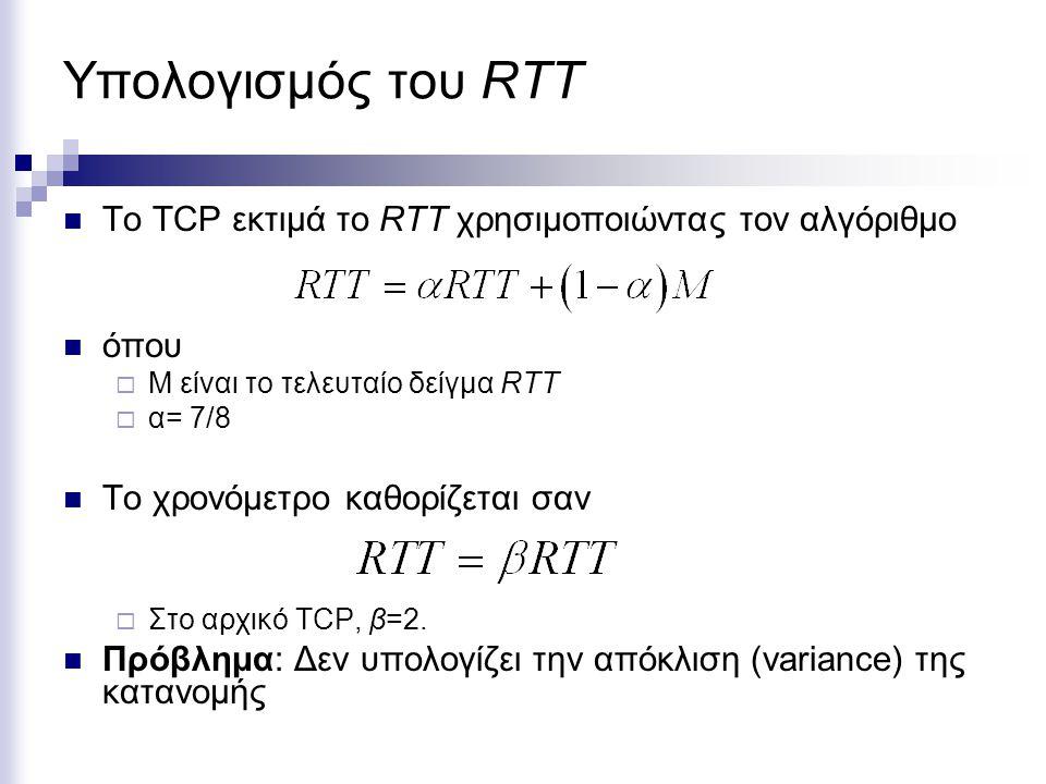 Υπολογισμός του RTT Το TCP εκτιμά το RTT χρησιμοποιώντας τον αλγόριθμο όπου  Μ είναι το τελευταίο δείγμα RTT  α= 7/8 Το χρονόμετρο καθορίζεται σαν  Στο αρχικό TCP, β=2.