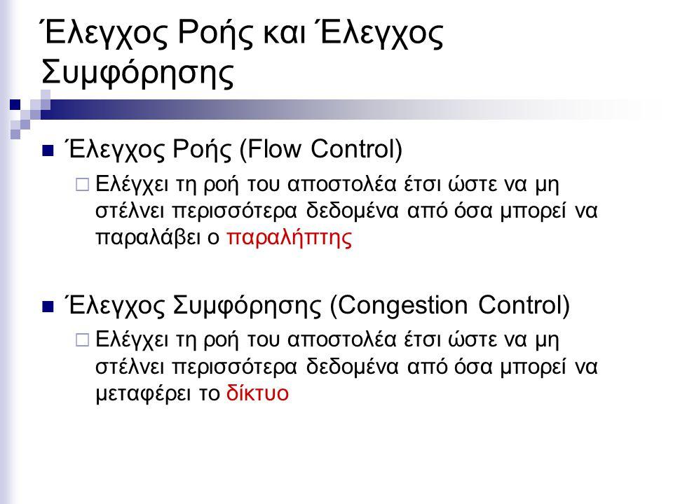 Έλεγχος Ροής και Έλεγχος Συμφόρησης Έλεγχος Ροής (Flow Control)  Ελέγχει τη ροή του αποστολέα έτσι ώστε να μη στέλνει περισσότερα δεδομένα από όσα μπορεί να παραλάβει ο παραλήπτης Έλεγχος Συμφόρησης (Congestion Control)  Ελέγχει τη ροή του αποστολέα έτσι ώστε να μη στέλνει περισσότερα δεδομένα από όσα μπορεί να μεταφέρει το δίκτυο