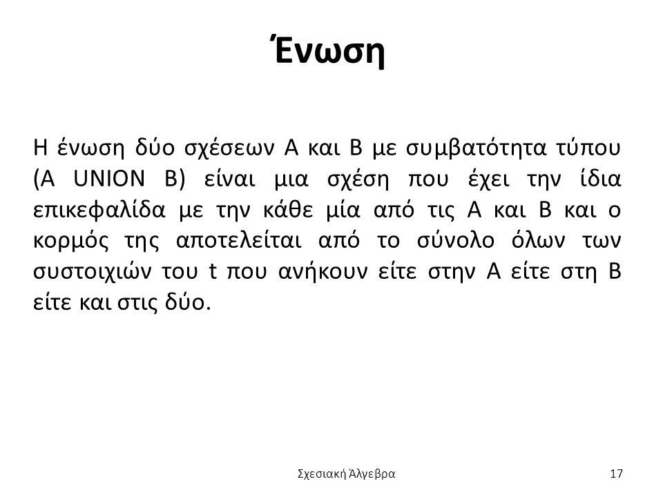 Ένωση Η ένωση δύο σχέσεων Α και Β με συμβατότητα τύπου (A UNION B) είναι μια σχέση που έχει την ίδια επικεφαλίδα με την κάθε μία από τις Α και Β και ο κορμός της αποτελείται από το σύνολο όλων των συστοιχιών του t που ανήκουν είτε στην Α είτε στη Β είτε και στις δύο.