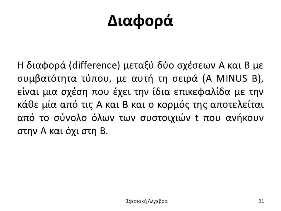 Διαφορά Η διαφορά (difference) μεταξύ δύο σχέσεων Α και Β με συμβατότητα τύπου, με αυτή τη σειρά (A MINUS B), είναι μια σχέση που έχει την ίδια επικεφαλίδα με την κάθε μία από τις Α και Β και ο κορμός της αποτελείται από το σύνολο όλων των συστοιχιών t που ανήκουν στην Α και όχι στη Β.
