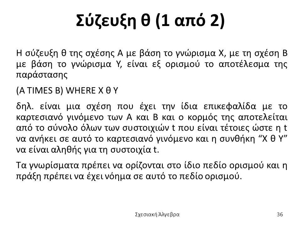 Σύζευξη θ (1 από 2) Η σύζευξη θ της σχέσης Α με βάση το γνώρισμα Χ, με τη σχέση Β με βάση το γνώρισμα Υ, είναι εξ ορισμού το αποτέλεσμα της παράστασης (A TIMES B) WHERE X θ Y δηλ.