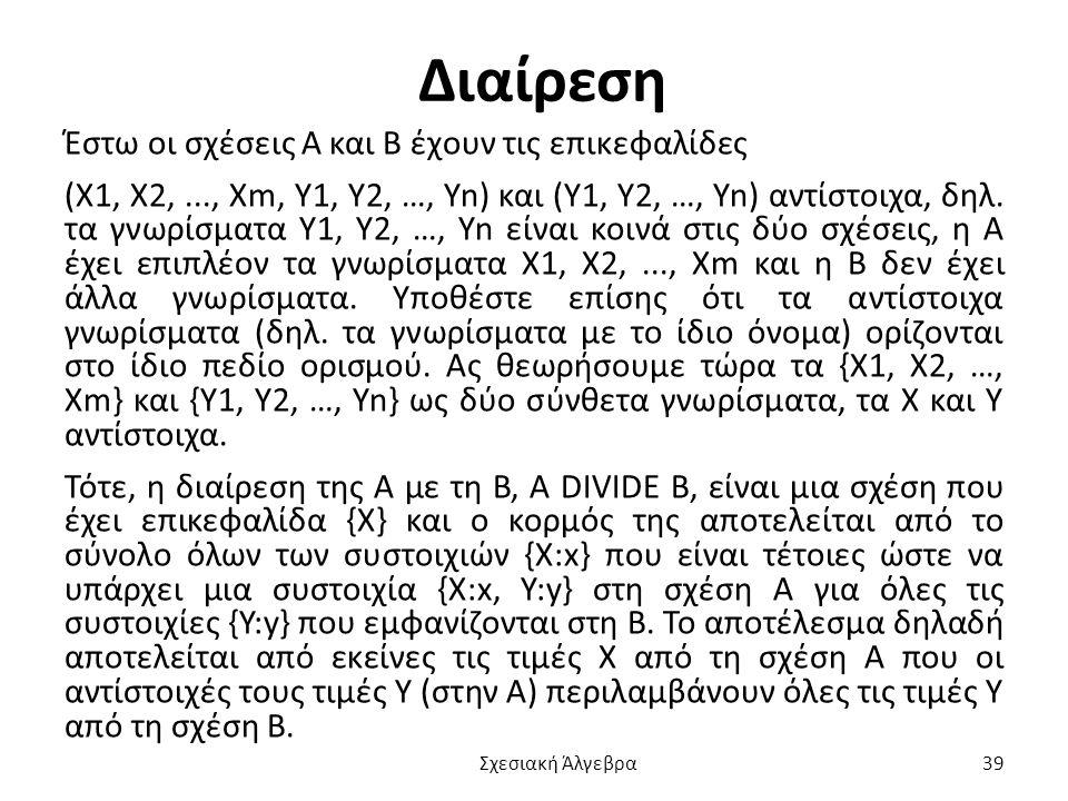 Διαίρεση Έστω οι σχέσεις Α και Β έχουν τις επικεφαλίδες (Χ1, Χ2,..., Χm, Y1, Y2, …, Yn) και (Y1, Y2, …, Yn) αντίστοιχα, δηλ.