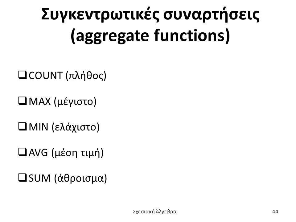 Συγκεντρωτικές συναρτήσεις (aggregate functions)  COUNT (πλήθος)  MAX (μέγιστο)  MIN (ελάχιστο)  AVG (μέση τιμή)  SUM (άθροισμα) Σχεσιακή Άλγεβρα 44