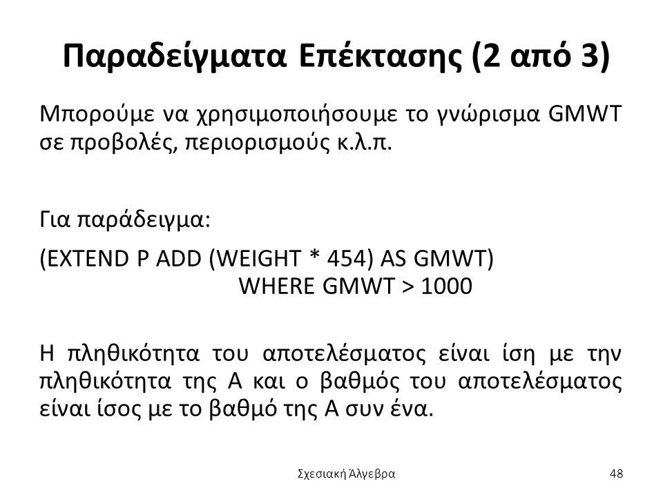 Παραδείγματα Επέκτασης (2 από 3) Μπορούμε να χρησιμοποιήσουμε το γνώρισμα GMWT σε προβολές, περιορισμούς κ.λ.π.