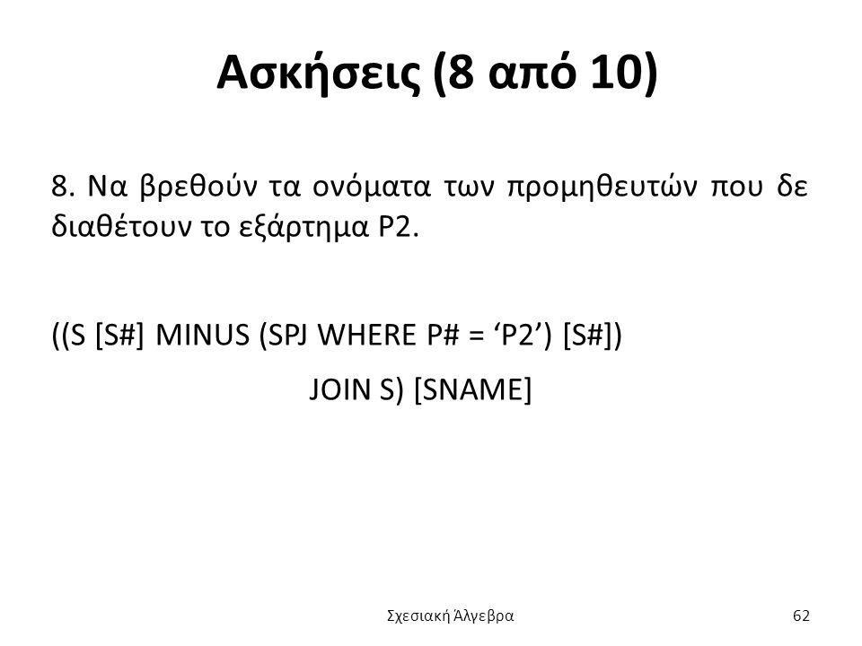 Ασκήσεις (8 από 10) 8.Να βρεθούν τα ονόματα των προμηθευτών που δε διαθέτουν το εξάρτημα P2.