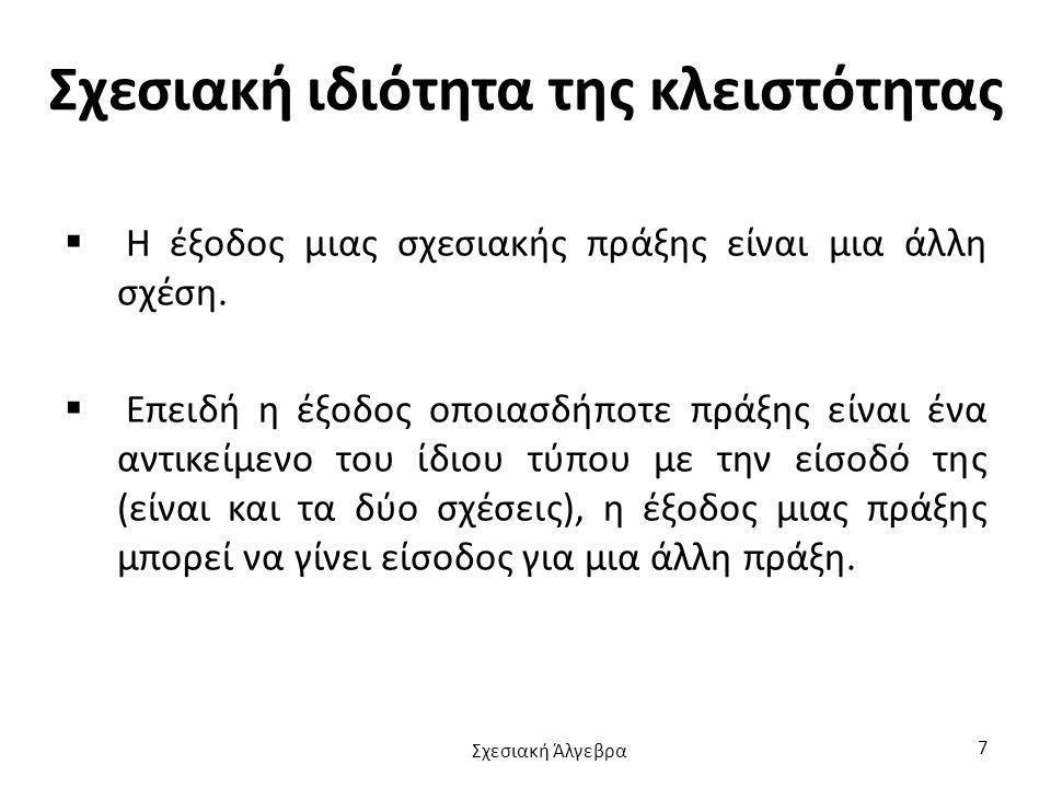 Ισοσύζευξη Αν το θ είναι ίσον , τότε η σύζευξη θ λέγεται ισοσύζευξη (equijoin).