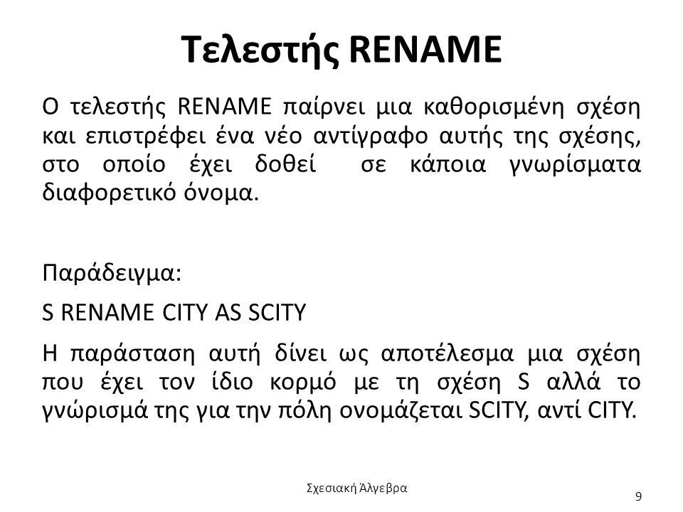 Τελεστής RENAME Ο τελεστής RENAME παίρνει μια καθορισμένη σχέση και επιστρέφει ένα νέο αντίγραφο αυτής της σχέσης, στο οποίο έχει δοθεί σε κάποια γνωρίσματα διαφορετικό όνομα.