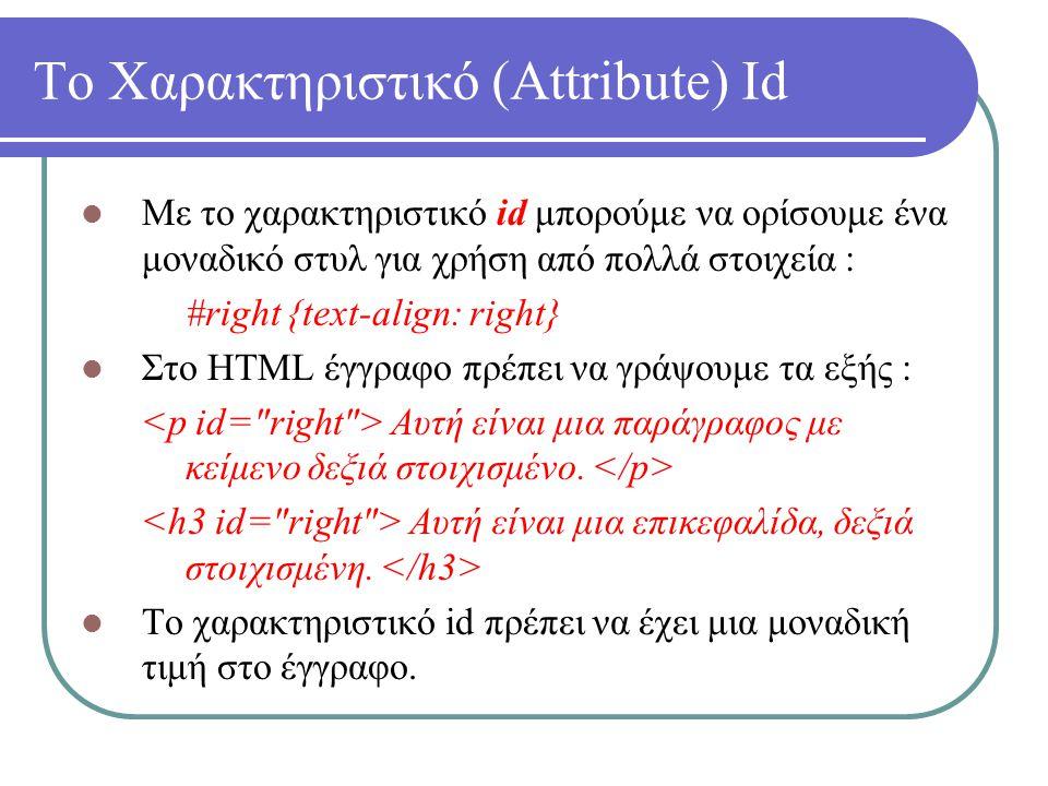 Το Χαρακτηριστικό (Attribute) Id Με το χαρακτηριστικό id μπορούμε να ορίσουμε ένα μοναδικό στυλ για χρήση από πολλά στοιχεία : #right {text-align: rig