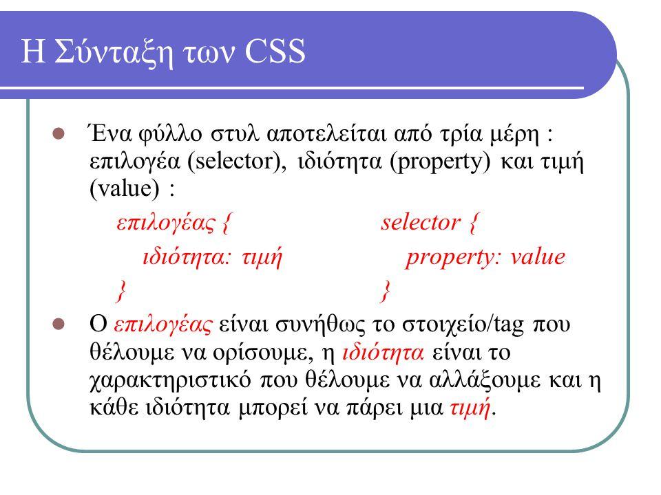 Η Σύνταξη των CSS Ένα φύλλο στυλ αποτελείται από τρία μέρη : επιλογέα (selector), ιδιότητα (property) και τιμή (value) : επιλογέας {selector { ιδιότητ