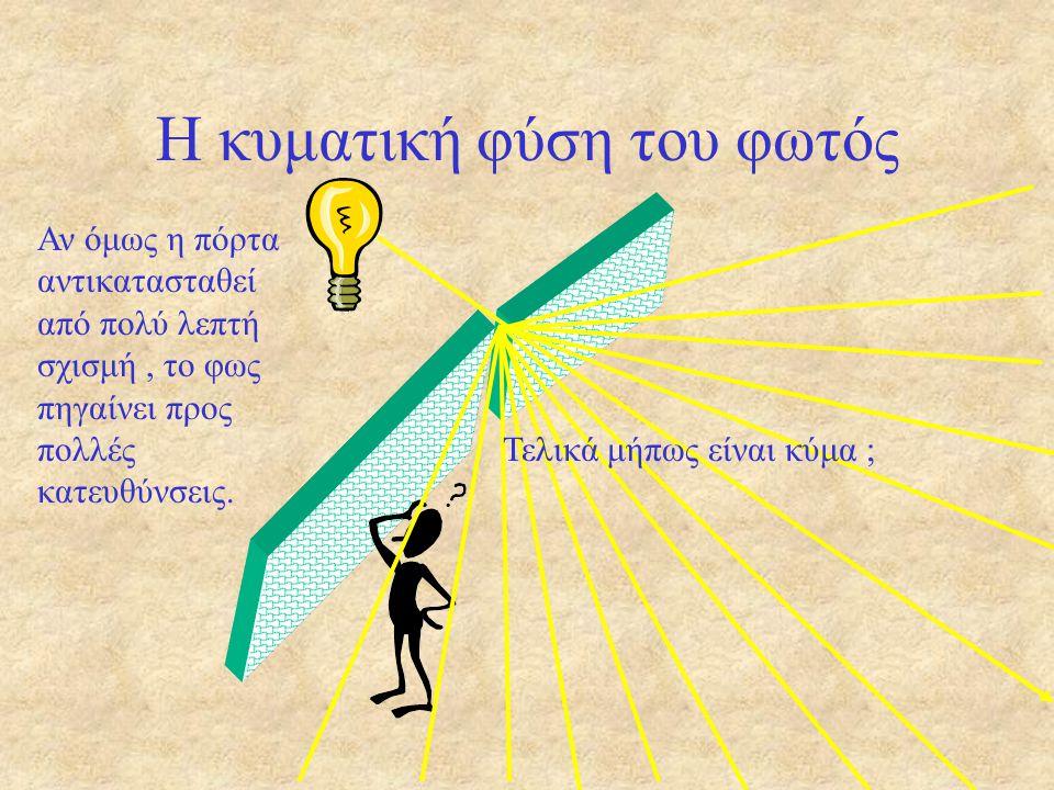 Η κυματική φύση του φωτός Όχι. Είναι ορατή η λάμπα ; Θα έλεγε κανείς ότι τα σωματίδια του φωτός δεν « στρίβουν »