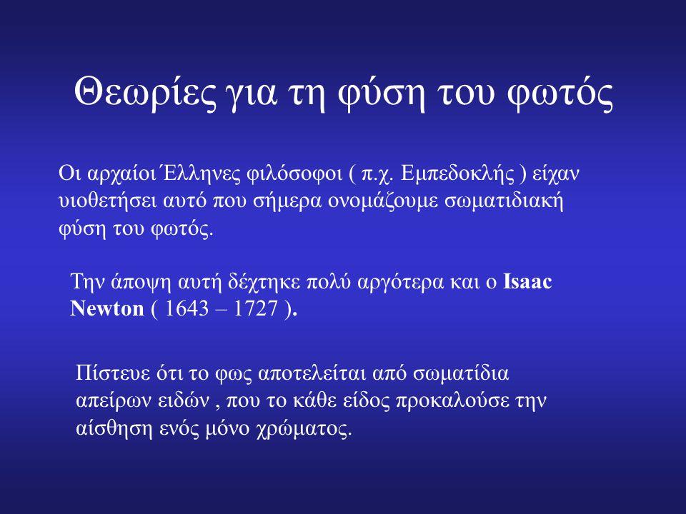 Θεωρίες για τη φύση του φωτός Οι αρχαίοι Έλληνες φιλόσοφοι ( π.χ.