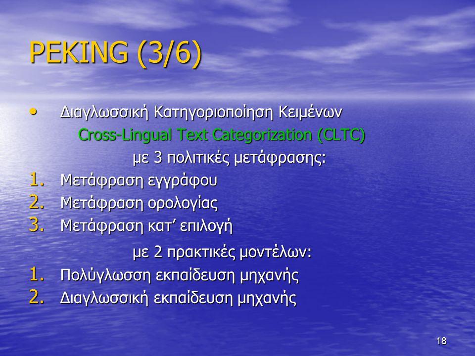 18 PEKING (3/6) Διαγλωσσική Κατηγοριοποίηση Κειμένων Διαγλωσσική Κατηγοριοποίηση Κειμένων Cross-Lingual Text Categorization (CLTC) Cross-Lingual Text Categorization (CLTC) με 3 πολιτικές μετάφρασης: με 3 πολιτικές μετάφρασης: 1.