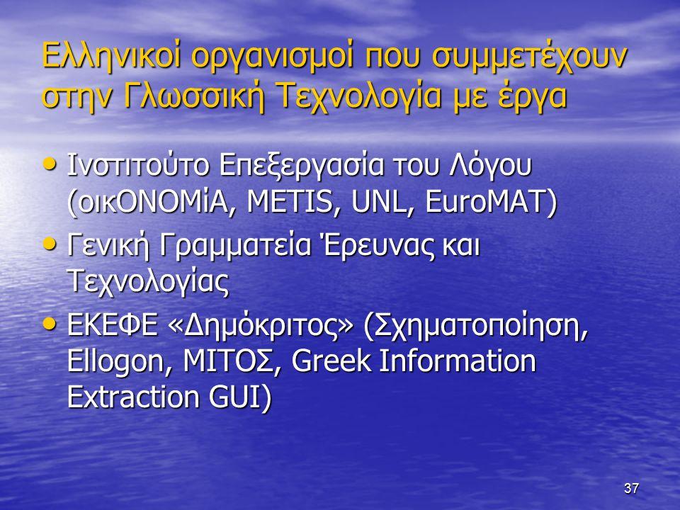 37 Ελληνικοί οργανισμοί που συμμετέχουν στην Γλωσσική Τεχνολογία με έργα Ινστιτούτο Επεξεργασία του Λόγου (οικΟΝΟΜίΑ, METIS, UNL, EuroMAT) Ινστιτούτο Επεξεργασία του Λόγου (οικΟΝΟΜίΑ, METIS, UNL, EuroMAT) Γενική Γραμματεία Έρευνας και Τεχνολογίας Γενική Γραμματεία Έρευνας και Τεχνολογίας ΕΚΕΦΕ «Δημόκριτος» (Σχηματοποίηση, Ellogon, ΜΙΤΟΣ, Greek Information Extraction GUI) ΕΚΕΦΕ «Δημόκριτος» (Σχηματοποίηση, Ellogon, ΜΙΤΟΣ, Greek Information Extraction GUI)