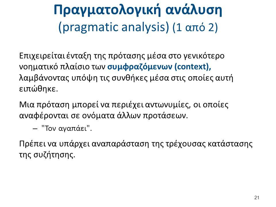 Πραγματολογική ανάλυση (pragmatic analysis) (1 από 2) Επιχειρείται ένταξη της πρότασης μέσα στο γενικότερο νοηματικό πλαίσιο των συμφραζόμενων (contex