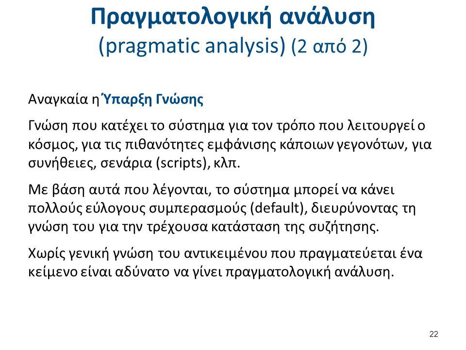 Πραγματολογική ανάλυση (pragmatic analysis) (2 από 2) Αναγκαία η Ύπαρξη Γνώσης Γνώση που κατέχει το σύστημα για τον τρόπο που λειτουργεί ο κόσμος, για