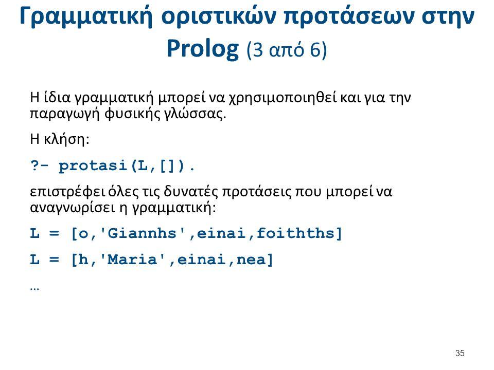 Γραμματική οριστικών προτάσεων στην Prolog (3 από 6) Η ίδια γραμματική μπορεί να χρησιμοποιηθεί και για την παραγωγή φυσικής γλώσσας. Η κλήση: ?- prot