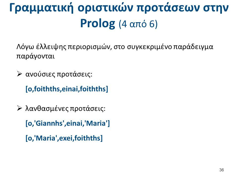 Γραμματική οριστικών προτάσεων στην Prolog (4 από 6) Λόγω έλλειψης περιορισμών, στο συγκεκριμένο παράδειγμα παράγονται  ανούσιες προτάσεις: [o,foithths,einai,foithths]  λανθασμένες προτάσεις: [o, Giannhs ,einai, Maria ] [o, Maria ,exei,foithths] 36