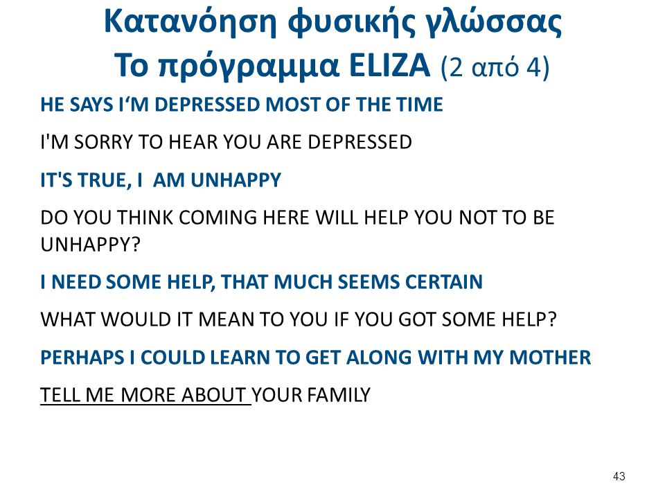 Κατανόηση φυσικής γλώσσας Το πρόγραμμα ΕLΙΖΑ (2 από 4) HE SAYS I'M DEPRESSED MOST OF THE TIME I'M SORRY TO HEAR YOU ARE DEPRESSED IT'S TRUE, I AM UNHA