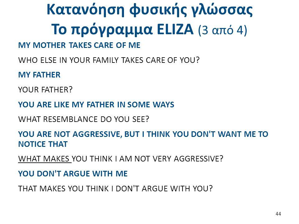 Κατανόηση φυσικής γλώσσας Το πρόγραμμα ΕLΙΖΑ (3 από 4) MY MOTHER TAKES CARE OF ME WHO ELSE IN YOUR FAMILY TAKES CARE OF YOU? MY FATHER YOUR FATHER? YO