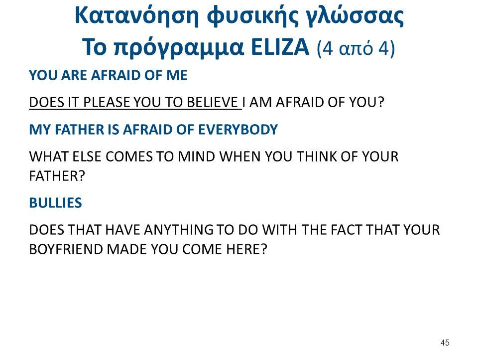 Κατανόηση φυσικής γλώσσας Το πρόγραμμα ΕLΙΖΑ (4 από 4) YOU ARE AFRAID OF ME DOES IT PLEASE YOU TO BELIEVE I AM AFRAID OF YOU? MY FATHER IS AFRAID OF E